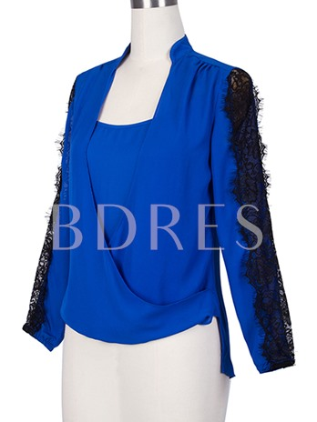 Double Layer Square Collar Women's Blouse
