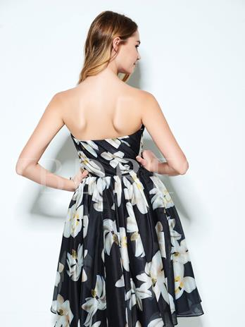 A-Line Strapless Pleats Printed Knee-Length Homecoming Dress