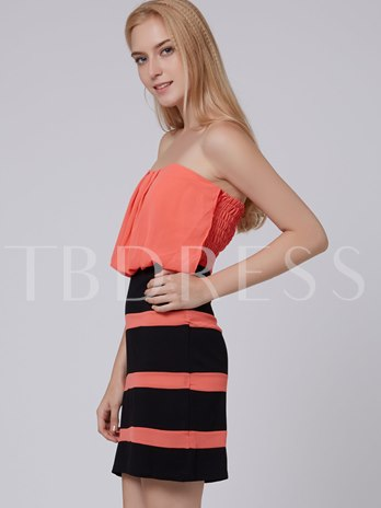 Strapless Chiffon Patchwork Women's Bodycon Dress (Plus Size Available)