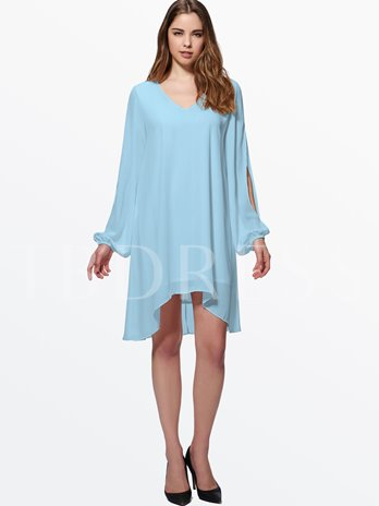 V Neck Asymmetrical Hem Women's Mini Dress