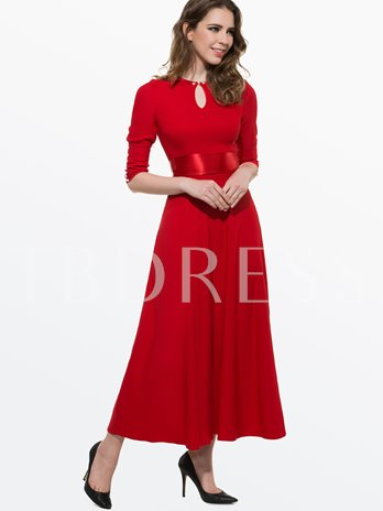 Plain 3/4 Sleeve Buttons Decorated Women's Maxi Dress