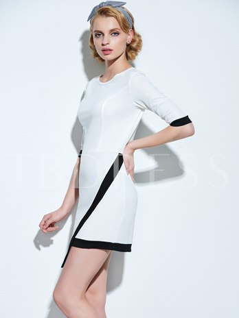 Black And White Round Neck Women's Sheath Dress (Plus Size Available)