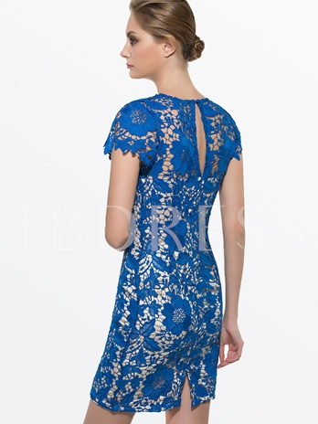 Round Neck Lace High Quality Bodycon Women's Sheath Dress
