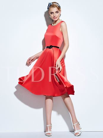 Plain Sleeveless Women's Vintage Dress