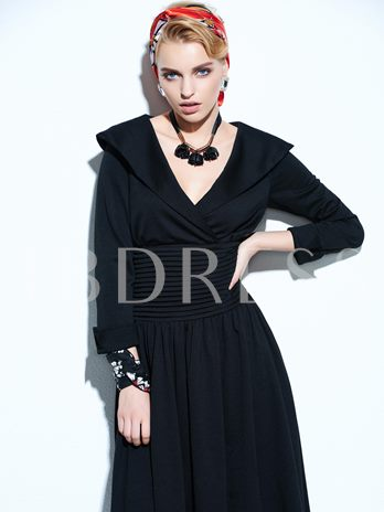 Plain Lace-Up Pleated Wide Lapel Women's Day Dress