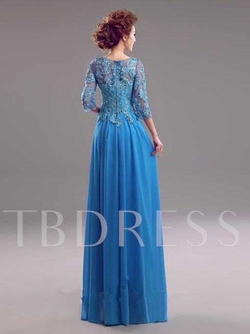 Half Sleeves Scoop Neck Appliques Beading A-Line Mother Of The Bride Dress