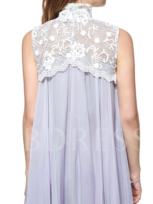 Turtle Neck Lace Patchwork Women's Pleated Dress(Plus Size Available)