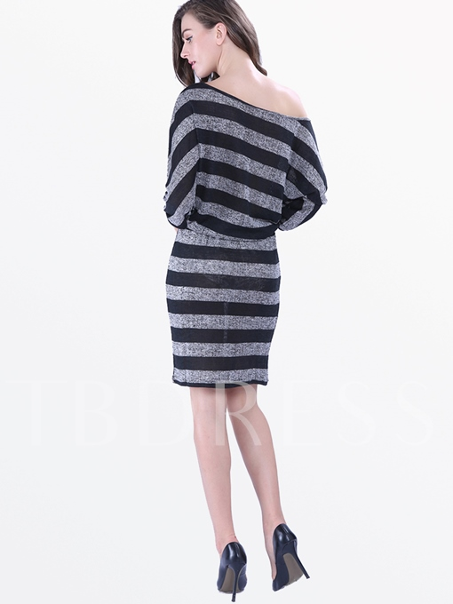 Half Sleeve Off-The-Shoulder Stripe Women's Sheath Dress (Plus Size Available)