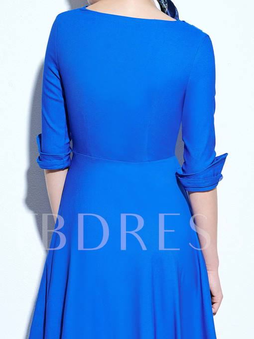 Ruffled V Neck Half Sleeve Women's Vintage Dress