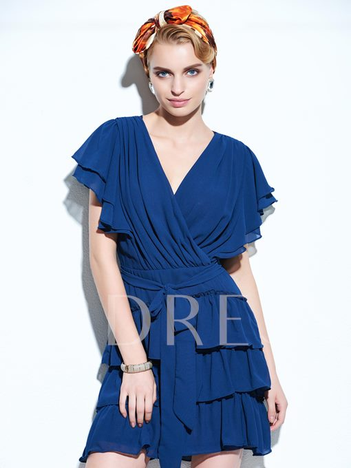 Solid Color Short Sleeve V Neck Chiffon Women's Day Dress