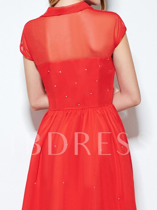 Red Lapel Rhinestone Decorated Women's Vintage Dress (Plus Size Available)