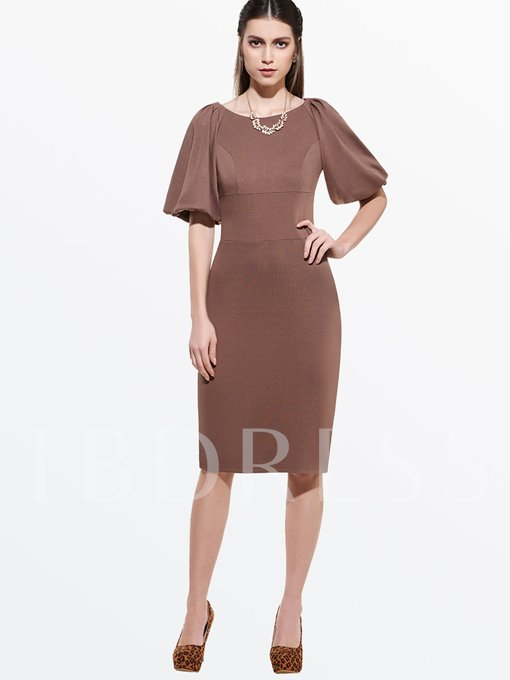 A-Line Lantern Sleeve Plain Standard-Waist Women's Sheath Dress