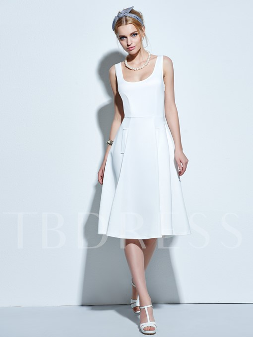 Solid Color Sleeveless Pleated Women's Vintage Dress