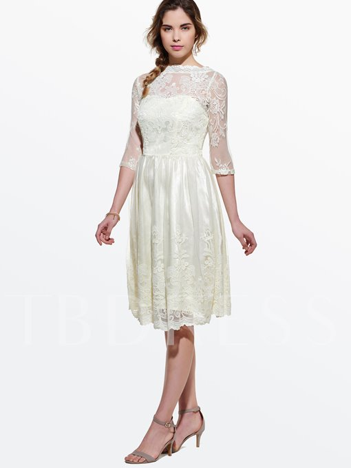 A-Line Half Sleeve Women's Lace Dress