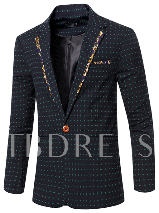 Notched Collar Polka Dots One Button Slim Men's Blazer