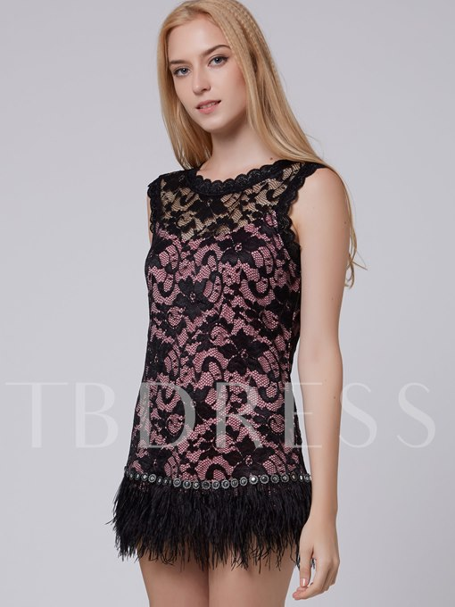 Feather Decorated Lace Sleeveless Women's Bodycon Dress (Plus Size Available)