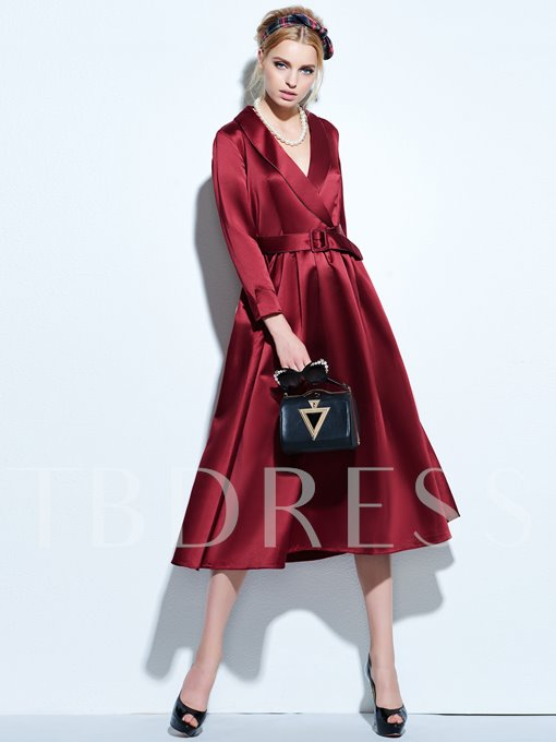 Plain V-Neck Polyester Pullover Women's Day Dress