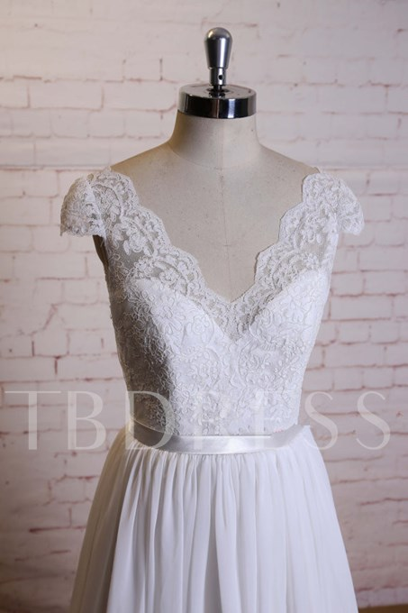 Capped Sleeves Lace Top Beach Wedding Dress