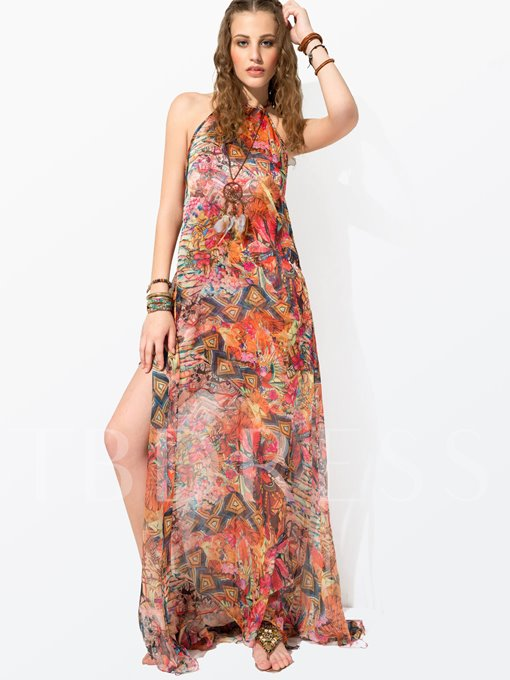 Clocolor® Sleeveless Retro Print Women's Maxi Dress