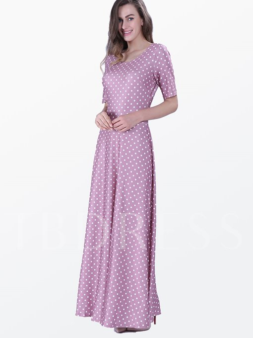 Polka Dots Short Sleeve Floor-Length Women's Maxi Dress (Plus Size Available)