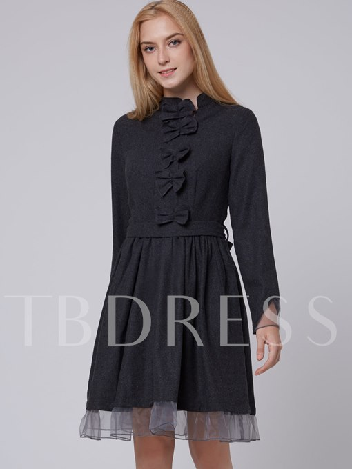 Stand Collar Patchwork Women's Long Sleeve Dress with Belt (Plus Size Available)