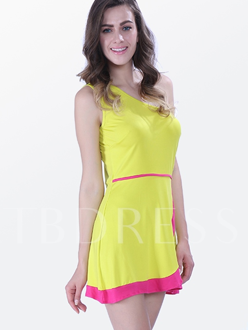 Yellow One Shoulder Women's Summer Dress (Plus Size Available)