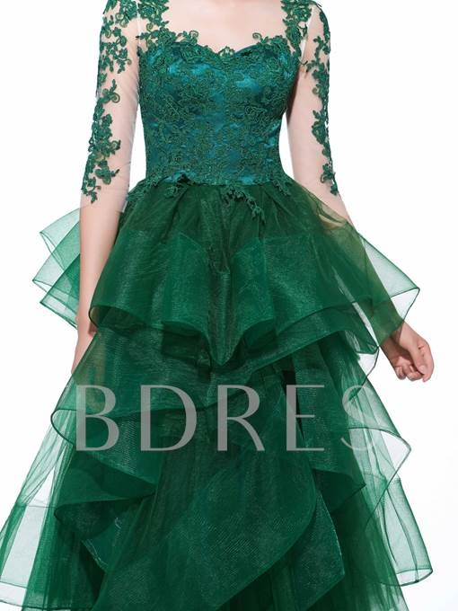 A-Line Scoop Appliques Tiered Evening Dress