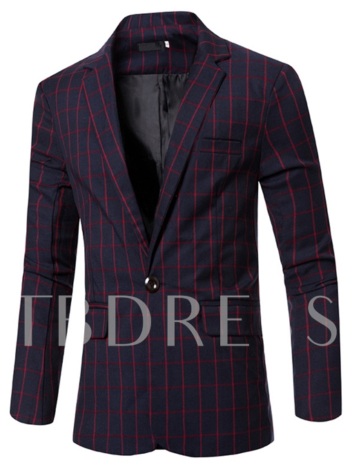 Notched Collar Plaid One Button Slim Fit Men's Casual Blazer