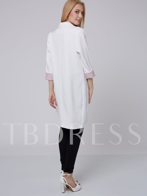 Sweet Solid Color Long Sleeve Slim Women's Trench Coat