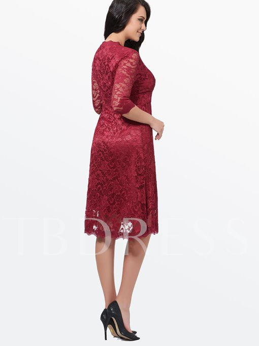 Plus Size Plain V-Neck Half Sleeve Women's Lace Dress