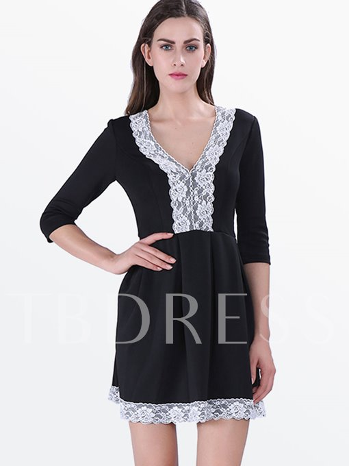 Western Lace A-Line V-Neck Women's Day Dress