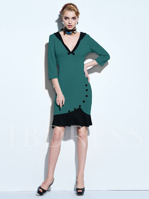 Green V-Neck Three-Quarter Sleeve Women's Mermaid Dress