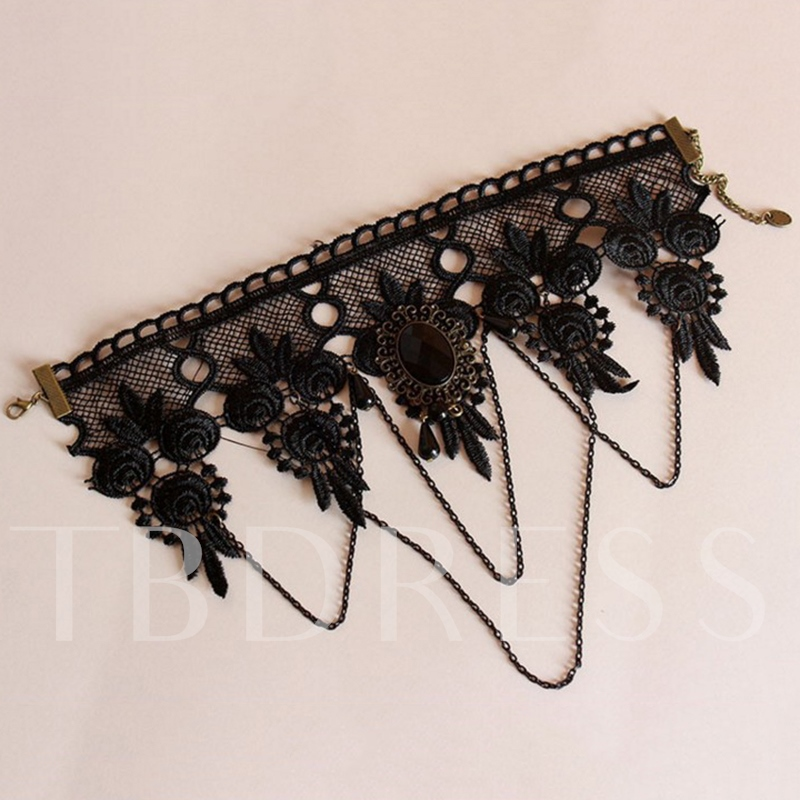 Wide Black Lace Gothic Style Choker Necklace