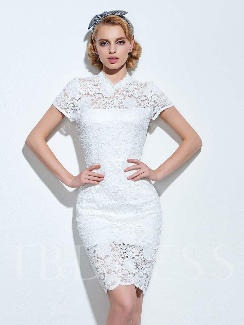 Off White Short Sleeve Back Split Women's Lace Dress