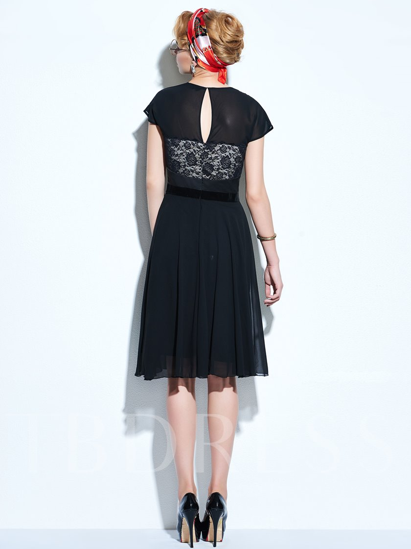 Black Chiffon Lace Patchwork Women's Day Dress