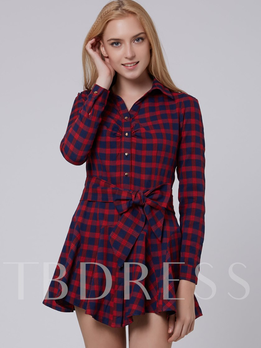 Red Plaid Single-Breasted Long Sleeve Women's Dress