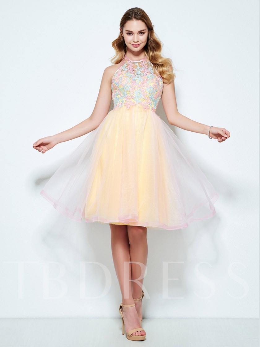 Halter A-Line Appliques Knee-Length Homecoming Dress