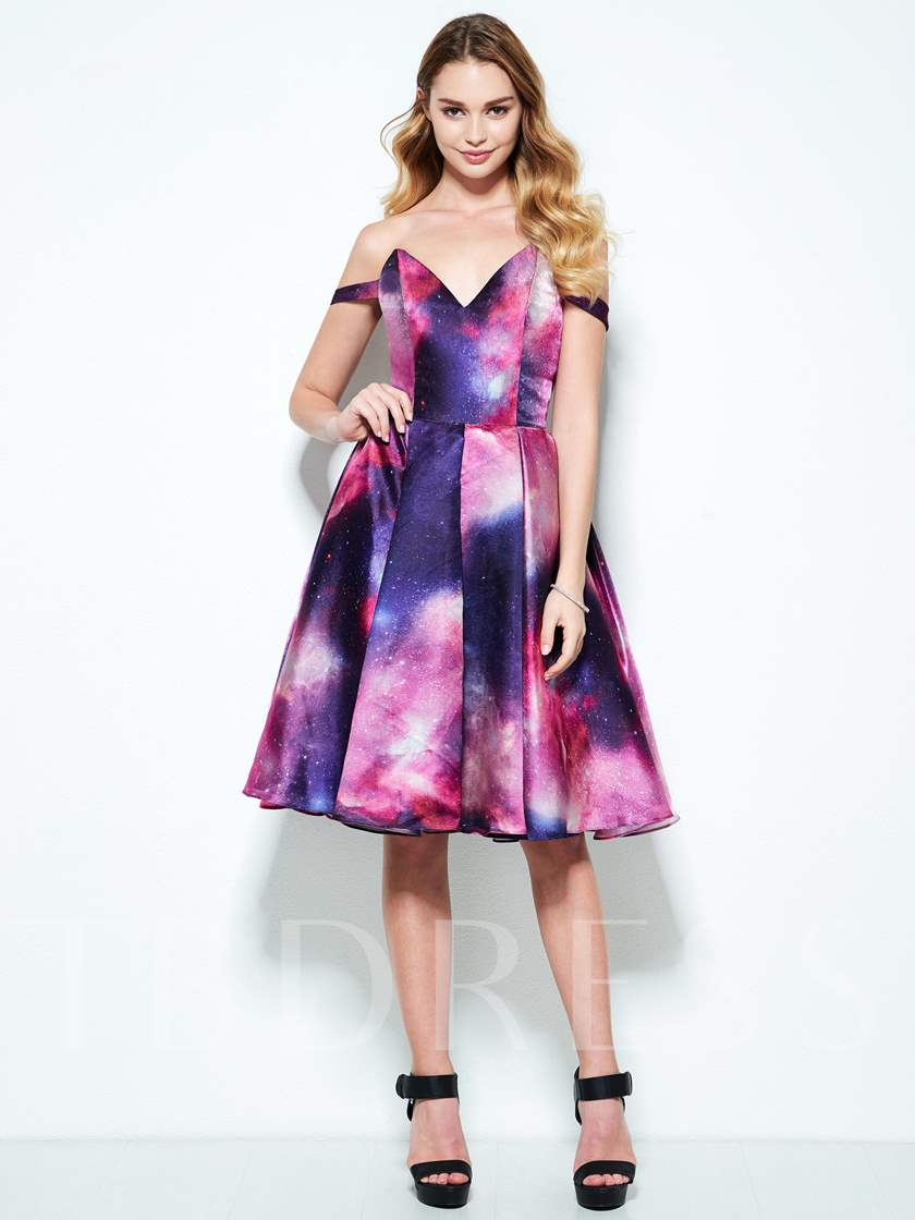 A-Line Off-the-Shoulder Printed Homecoming Dress