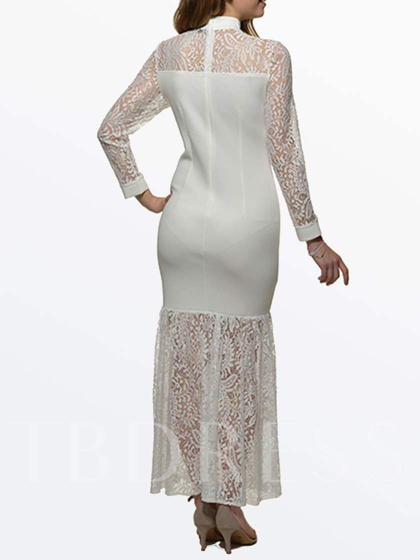 White Hollow Out Lace Women's Maxi Dress (Plus Size Available)