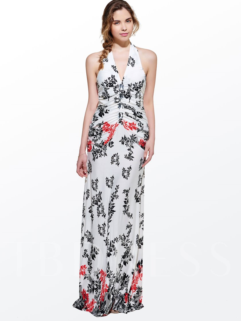 White V Neck Backless Print Women's Maxi Dress