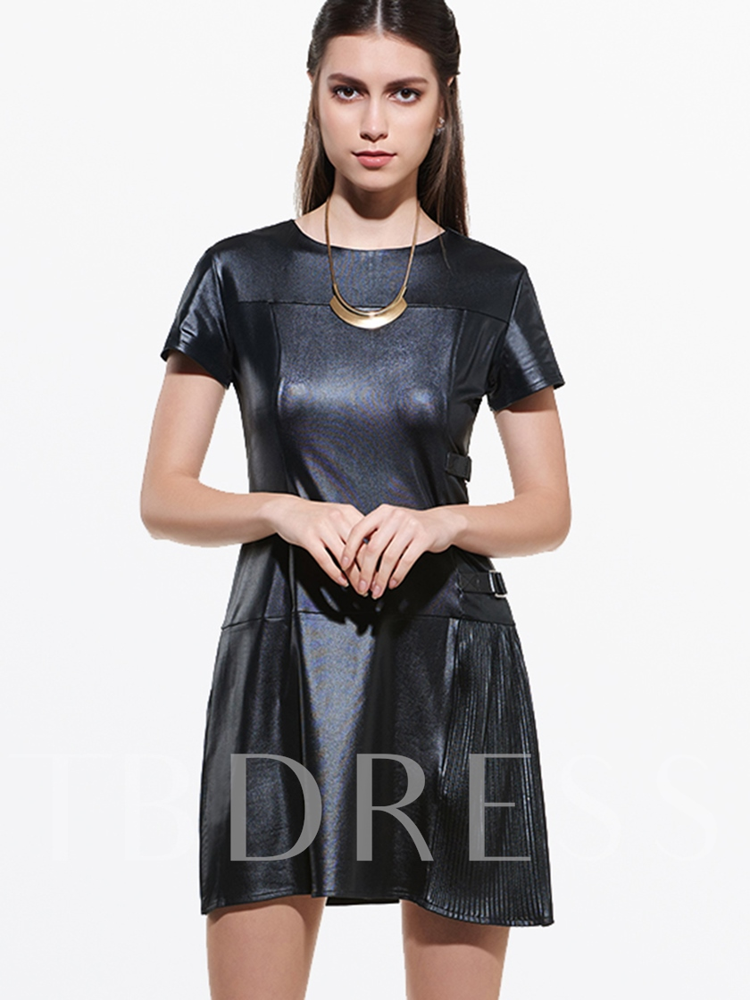 Black Plain Round Neck Short Sleeve Women's Day Dress