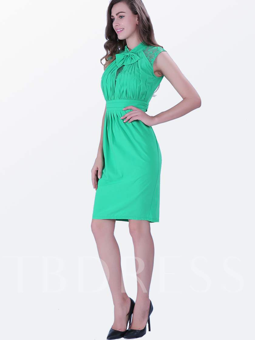 Green Ruffle Tie Neck Women's Pencil Dress (Plus Size Available)
