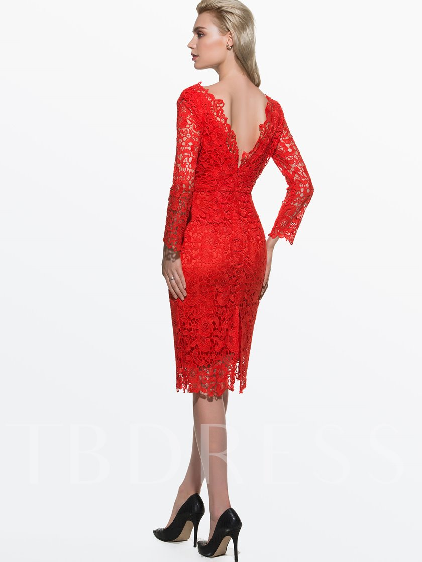 Red Slash Neck Backless Women's Lace Dress