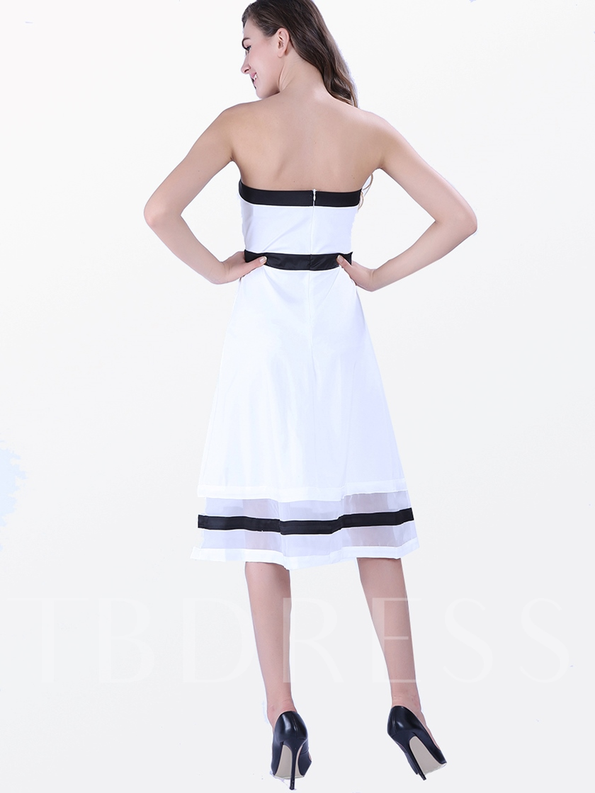 White Strapless Knot Decorated Women's Day Dress
