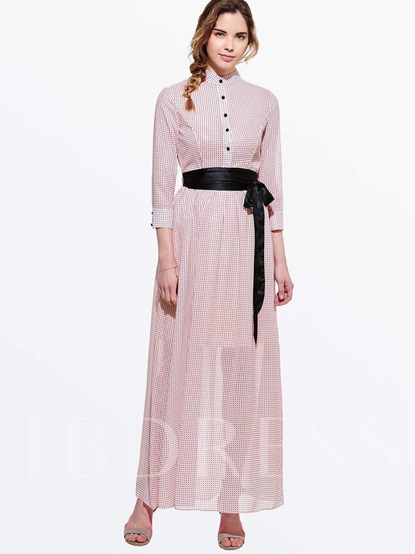 Nine Points Sleeve Single-Breasted Chiffon Lace Up Button Women's Maxi Dress
