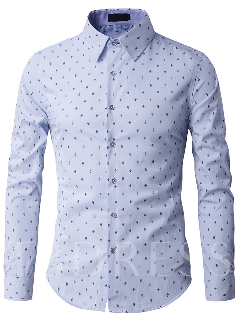 Men's Long Sleeve Leisure Shirt with Floral Printed