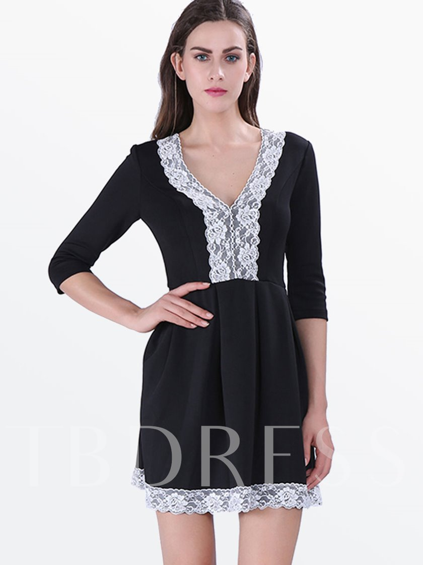 Patchwork Lace A-Line V-Neck Women's Day Dress