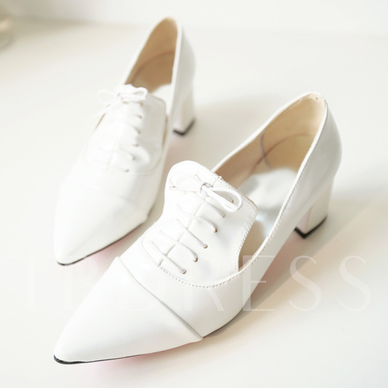 Pointed Toe Slip-On Lace-Up Plain Women's Pumps