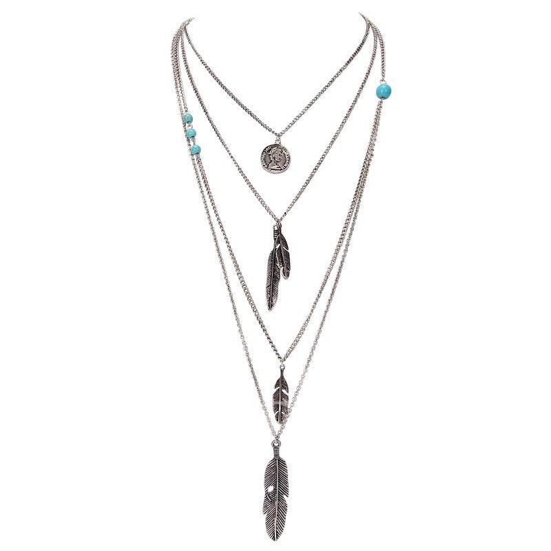 Multilayer Ancient Silver Leaves Necklace