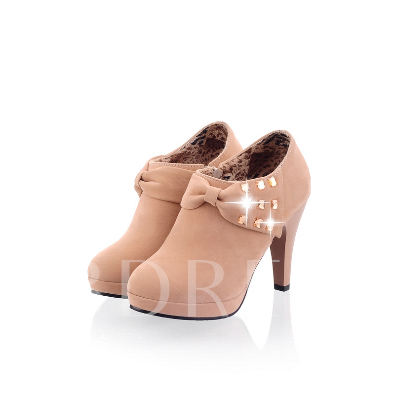 Side Zipper Round Toe Plain Bowtie Platform Women's Boots